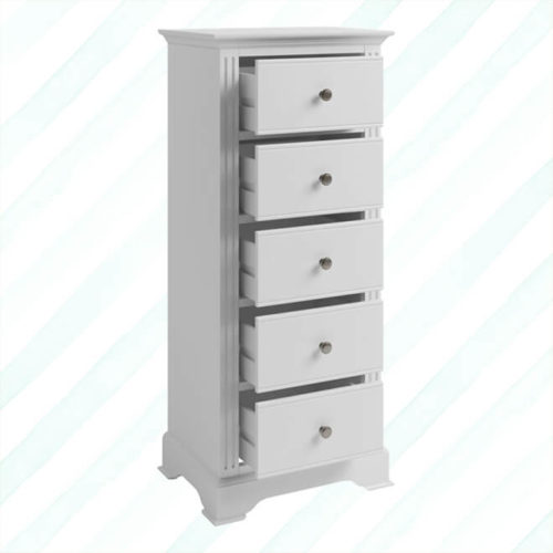 Brescia 5 Drawer Narrow Chest White