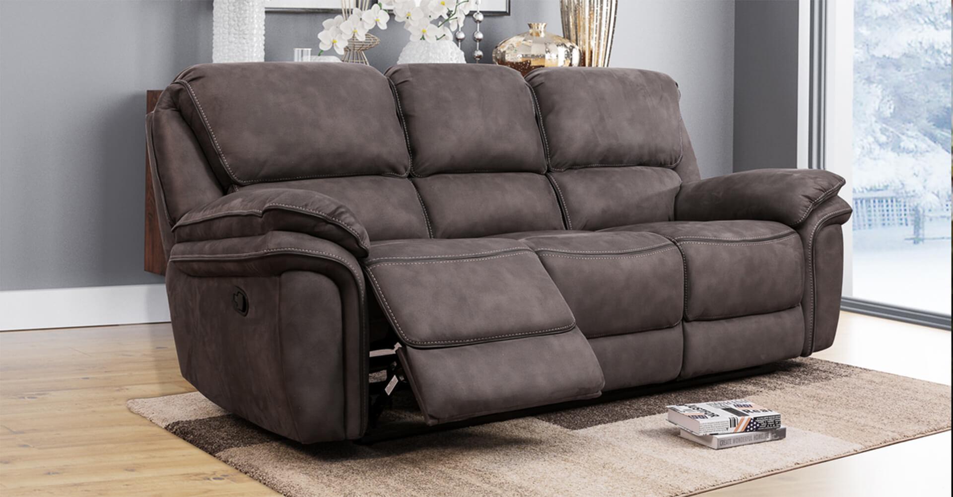 Portland 3 Seater Reclining Sofa - Charcoal