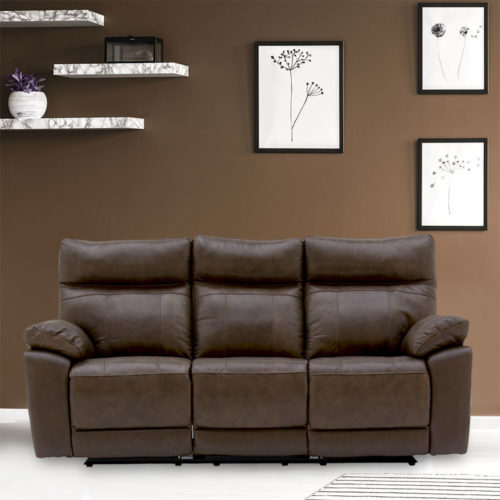 Prosecco Reclining 3 Seater Sofa - Brown
