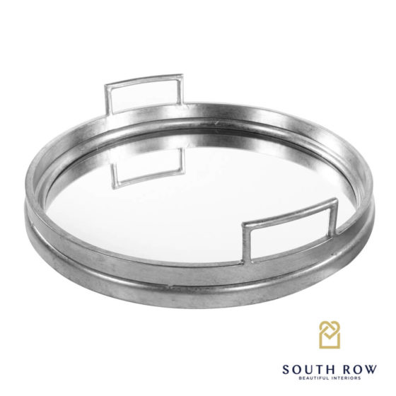Amelia Mirrored Tray – Round Silver
