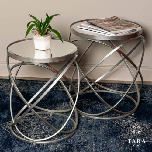 Spirals Set of 2 Side Tables - Silver