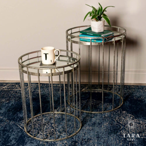 Cage Set of 2 Side Tables - Silver
