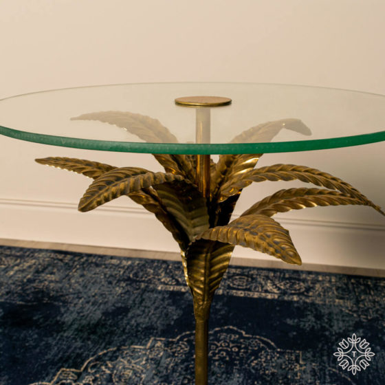Azure Leaf Accent Table Round Gold
